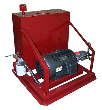 The hydraulic power source is mounted on a separate frame.  The standard 20 HP unit provides 10 cuts per minute while the optional 30 HP unit provides 15 cuts per minute